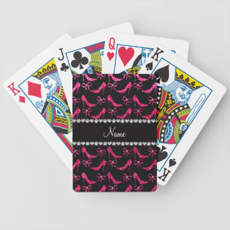 Personalized name rose pink glitter high heels bow bicycle playing cards