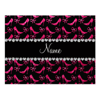 Personalized name rose pink glitter high heels bow postcard