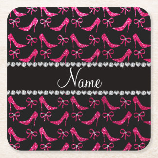 Personalized name rose pink glitter high heels bow square paper coaster