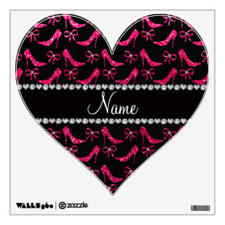 Personalized name rose pink glitter high heels bow wall skin