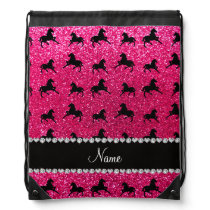 Personalized name rose pink glitter horses drawstring backpack