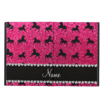 Personalized name rose pink glitter horses iPad air cover
