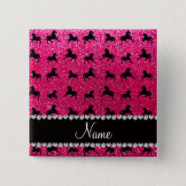 Personalized name rose pink glitter horses pinback button