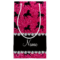 Personalized name rose pink glitter horses small gift bag