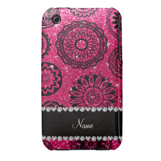 Personalized name rose pink glitter mandalas iPhone 3 case