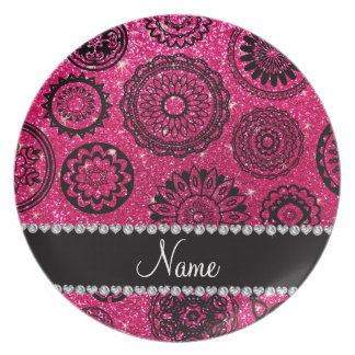 Personalized name rose pink glitter mandalas melamine plate
