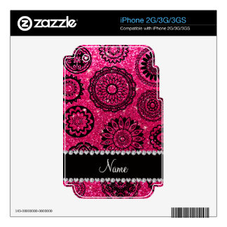 Personalized name rose pink glitter mandalas iPhone 3G decal