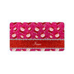 Personalized name rose pink glitter santas labels