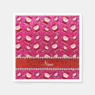 Personalized name rose pink glitter santas paper napkin