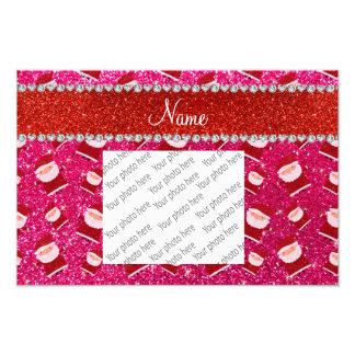 Personalized name rose pink glitter santas photo art