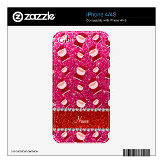 Personalized name rose pink glitter santas decals for iPhone 4S