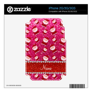 Personalized name rose pink glitter santas iPhone 3G decal