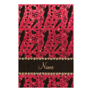 Personalized name rose pink glitter singer cork paper