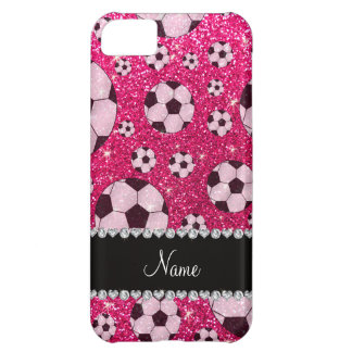 Personalized name rose pink glitter soccer iPhone 5C covers