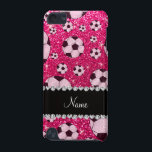 "Personalized name rose pink glitter soccer iPod touch (5th generation) cover<br><div class=""desc"">Soccer gift ideas. Modern, girly, chic and trendy Custom name sports rose pink soccer balls pattern background glitter sparkles (faux not real glitter) with pretty black diamonds (faux not real diamonds) with beautiful hearts and dots stripe personalized with just add your name gifts or monogram gifts or your initials for...</div>"