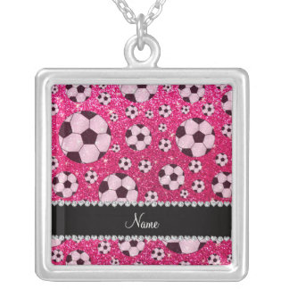 Personalized name rose pink glitter soccer personalized necklace