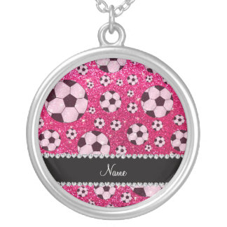 Personalized name rose pink glitter soccer pendant