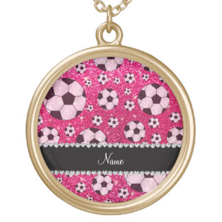 Personalized name rose pink glitter soccer jewelry