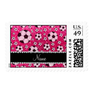 Personalized name rose pink glitter soccer postage