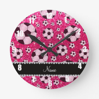 Personalized name rose pink glitter soccer round clock