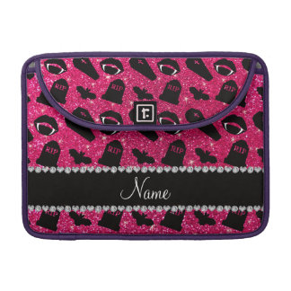 Personalized name rose pink glitter vampire MacBook pro sleeve