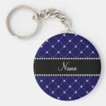 Personalized name Royal blue diamonds Basic Round Button Keychain
