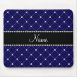 Personalized name Royal blue diamonds Mouse Pad
