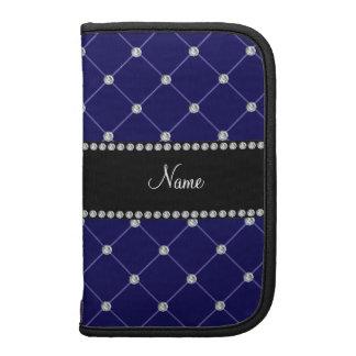 Personalized name royal blue diamonds tuft folio planner