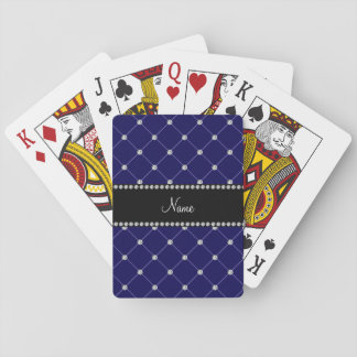 Personalized name royal blue diamonds tuft playing cards