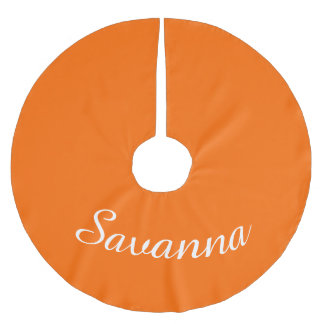 Personalized Name Safety Orange Holiday Christmas Brushed Polyester Tree Skirt