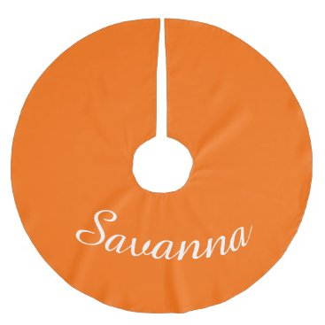 Christmas Themed Personalized Name Safety Orange Holiday Christmas Brushed Polyester Tree Skirt