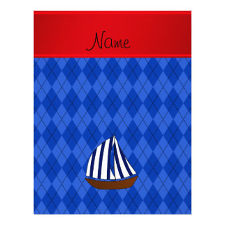 "Personalized name sailboat blue argyle 8.5"" x 11"" flyer"