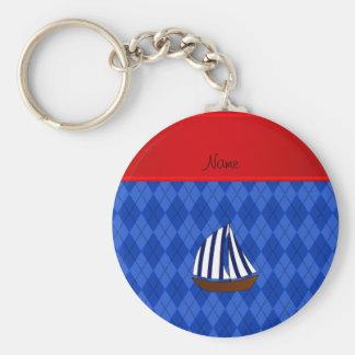 Personalized name sailboat blue argyle basic round button keychain
