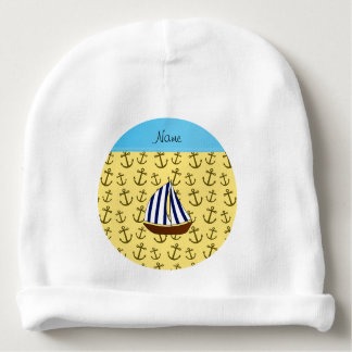 Personalized name sailboat pastel yellow anchors baby beanie