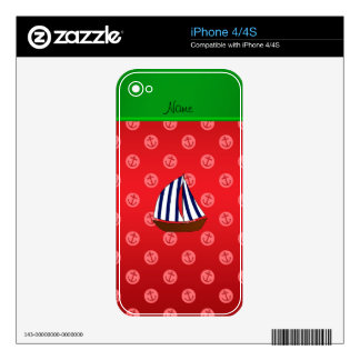 Personalized name sailboat red dot anchors decal for the iPhone 4S