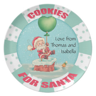 personalized name santa balloon cookie plate