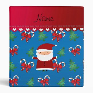 Personalized name santa blue candy canes bows vinyl binders