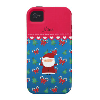 Personalized name santa blue candy canes bows iPhone 4 cases