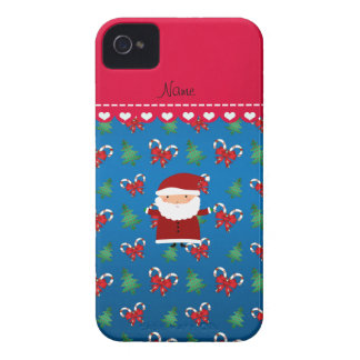 Personalized name santa blue candy canes bows Case-Mate iPhone 4 cases
