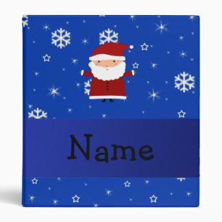 Personalized name santa blue snowflakes 3 ring binders