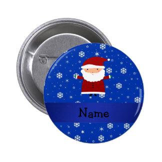 Personalized name santa blue snowflakes pinback button