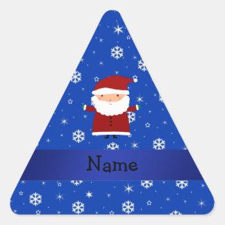 Personalized name santa blue snowflakes triangle sticker