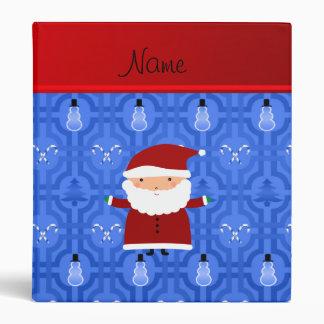 Personalized name santa blue snowman trellis binders