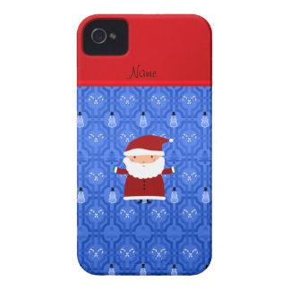 Personalized name santa blue snowman trellis iPhone 4 Case-Mate cases