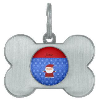 Personalized name santa blue snowman trellis pet ID tags