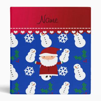 Personalized name santa blue snowmen holly vinyl binders