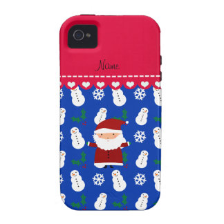 Personalized name santa blue snowmen holly Case-Mate iPhone 4 cover