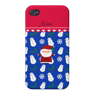 Personalized name santa blue snowmen holly cover for iPhone 4