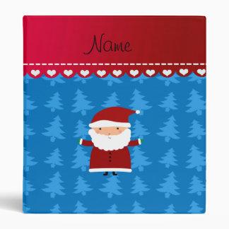 Personalized name santa blue trees 3 ring binders