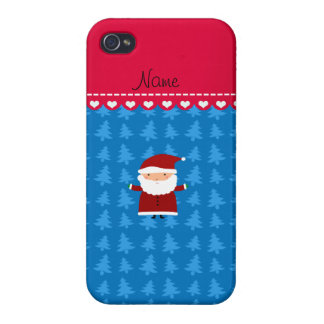 Personalized name santa blue trees cover for iPhone 4